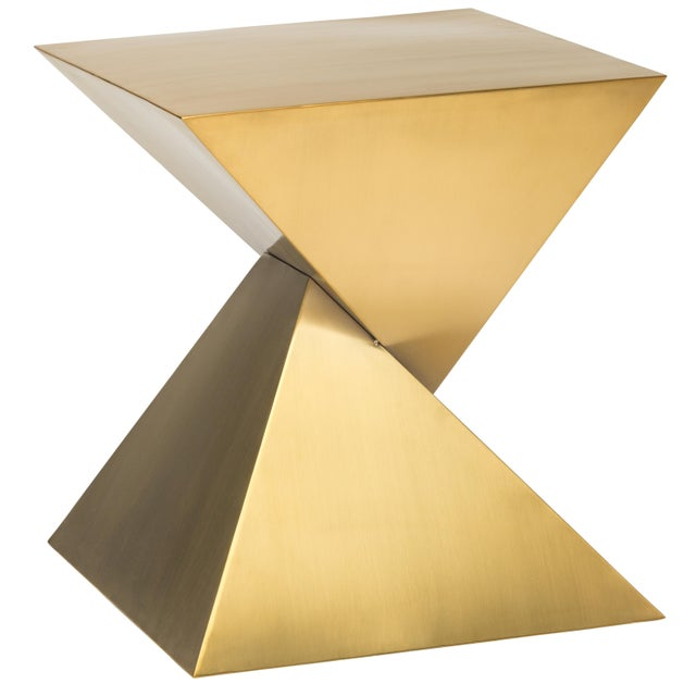 Giza Steel Side Table In Gold For Sale - Image 4 of 8