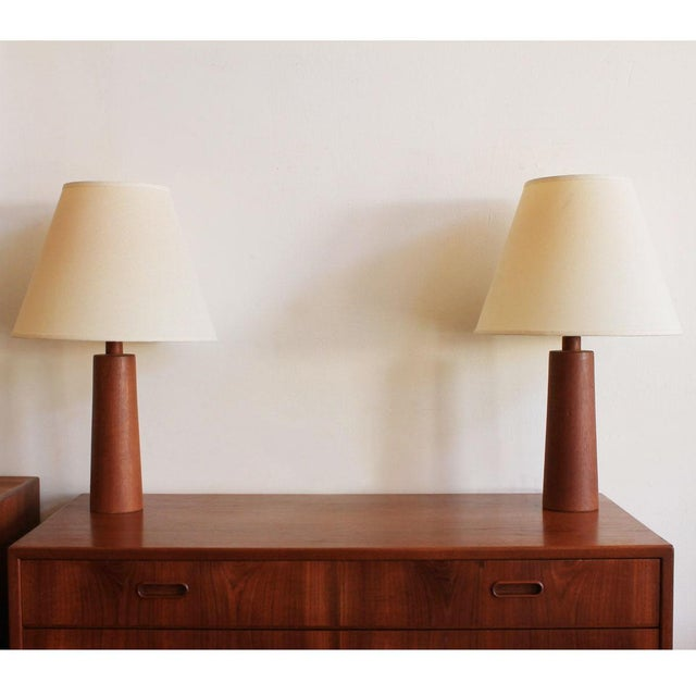 Compact Turned Teak Table Lamps - Pair - Image 2 of 5