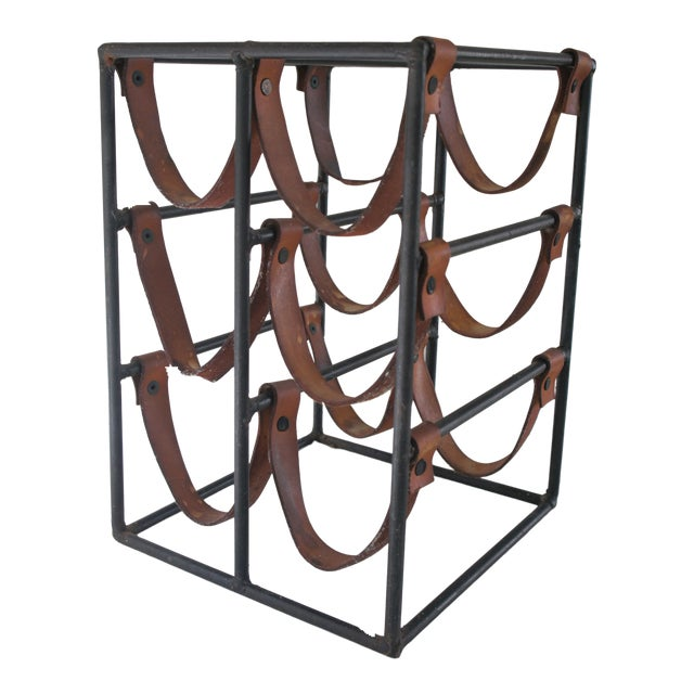Mid-Century Modern Arthur Umanoff Sculptural Wrought Iron and Leather Wine Rack For Sale