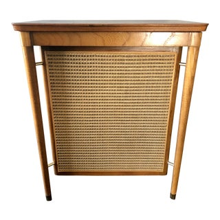Mid Century Danish Walnut Cane Brass Hamper For Sale