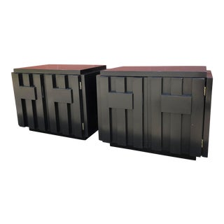 Mid Century Lane Block Side Tables Ebony Black With Brown Understones - a Pair For Sale