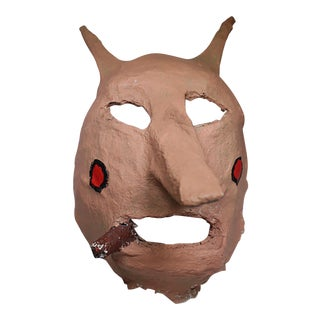 Mid-Century Handmade Plaster Halloween Mask