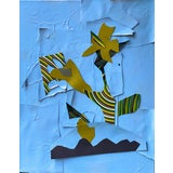 """Image of """"I Came Out Blue II"""" Contemporary Abstract Mixed-Media Collage For Sale"""