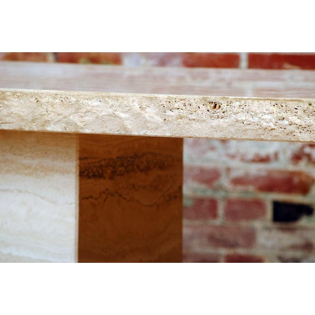 Italian Travertine Pedestal Dining Table For Sale - Image 3 of 9