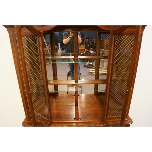 Late 20th Century 20th Century French Provincial Bernhardt Furniture Lighted China Cabinet For Sale - Image 5 of 13