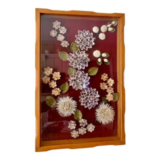 Vintage Midcentury Shell Art Shadow Box For Sale