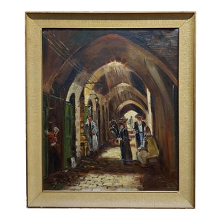 Jerusalem Old Town Orientalist Oil Painting C. 1950s For Sale