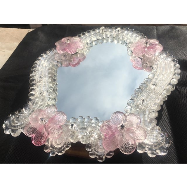 Italian Venetian Murano Glass Wall Mirror With Pink Rosettes, 1950s For Sale In New Orleans - Image 6 of 11