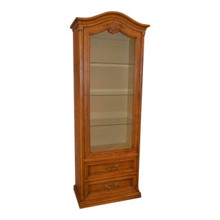 Vintage Henredon Country French Style Display Cabinet W/Wire Mesh Door For Sale