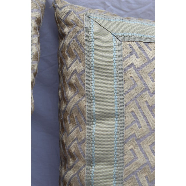 """Silk """"Greek Key"""" Down Pillows in Beige/Taupe With Light Green Embroidered Trim - a Pair For Sale - Image 11 of 13"""
