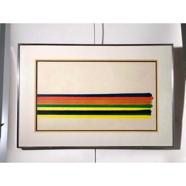 Midcentury Horizontal Stripe Framed Print For Sale - Image 4 of 4