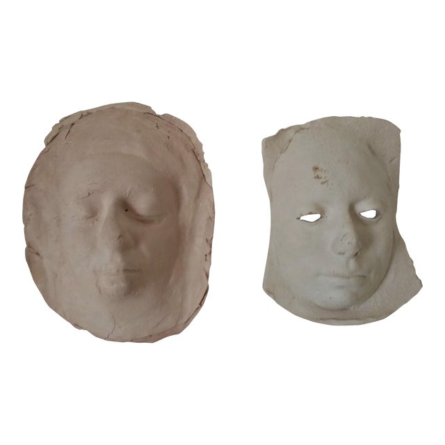 Vintage 1970's Pottery Face Masks - A Pair For Sale