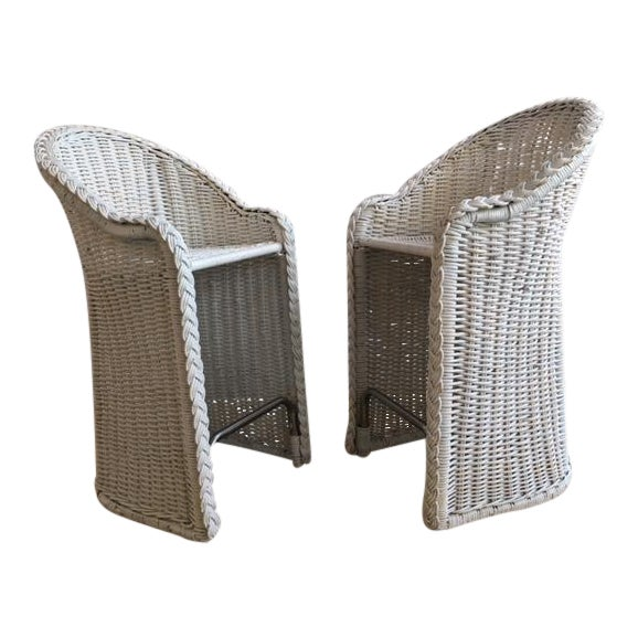Woven Rattan Bar Stools - a Pair For Sale