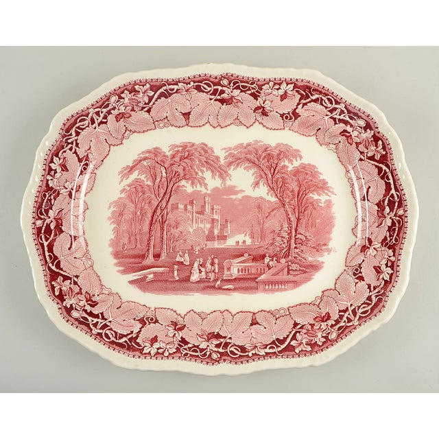 "Mason's Vista Pink 19"" Oval Serving Platter For Sale In Greensboro - Image 6 of 6"