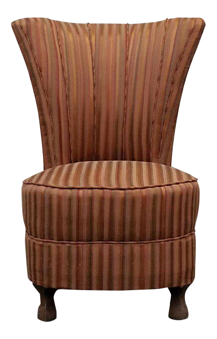 Amazing Antique Striped Slipper Chair
