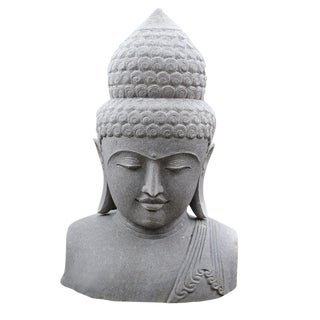 Volcanic Stone Buddha Bust For Sale
