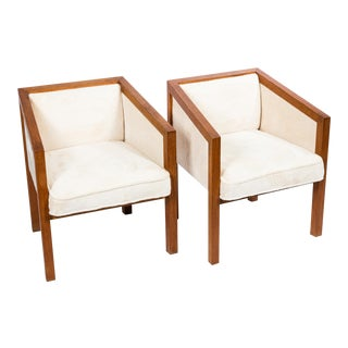 Architectural Walnut Arm Chairs - A Pair