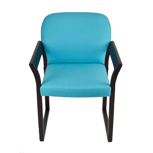 Blue Linen Mid-Century Arm Chairs - A Pair - Image 2 of 2