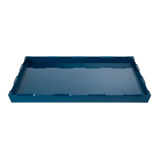 Veere Grenney Collection Denston Ottoman Tray in Indigo Blue For Sale