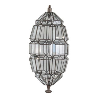 Mexican Handmade Helix Clear Glass Pendant Light For Sale