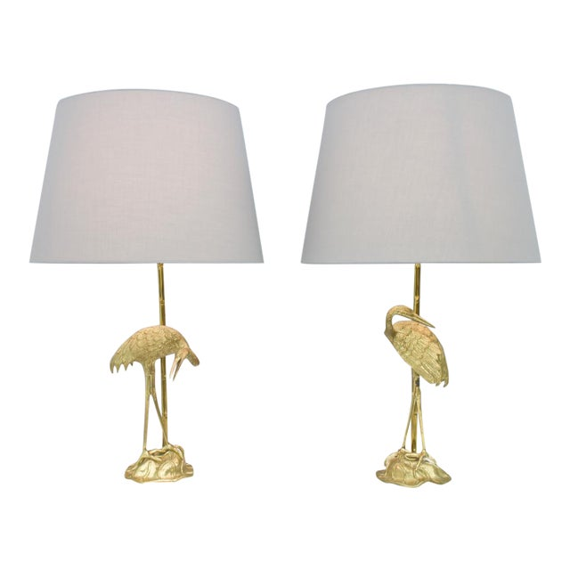 Pair of Crane Brass Table Lamps 1970s For Sale