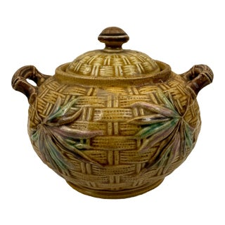 Antique English Majolica Basket Weave Sugar Bowl For Sale