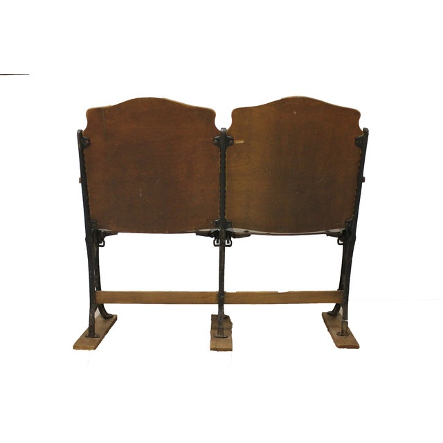 Super Antique Wood And Cast Iron Theater Seats Pair Caraccident5 Cool Chair Designs And Ideas Caraccident5Info