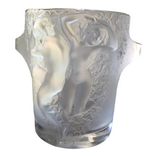Large Lalique France Crystal Ganymede Nude Champagne Wine Ice Bucket For Sale