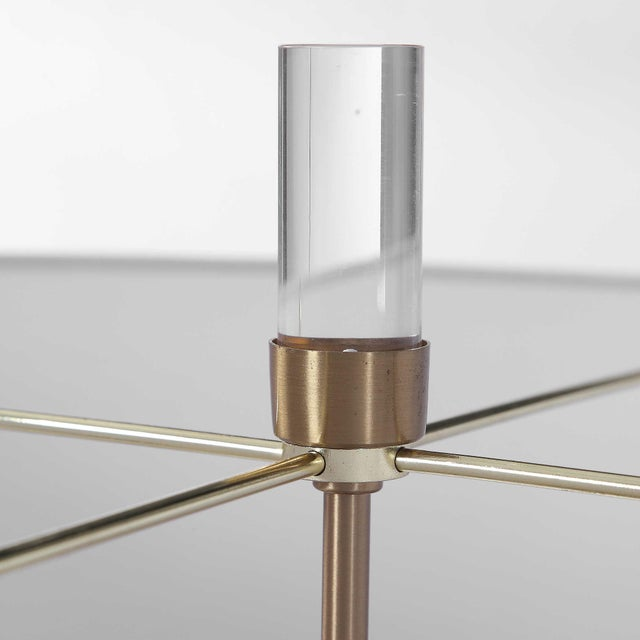 2010s Lucite and Brass Tripod-Style Floor Lamp with White Shade For Sale - Image 5 of 8