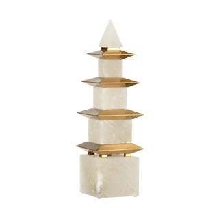 Contemporary Chelsea House Inc Alabaster and Brass Obelisk For Sale