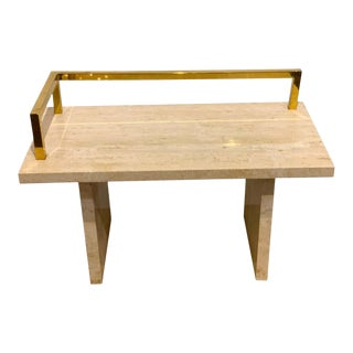 1970s Brass and Travertine Monolithic Bench For Sale