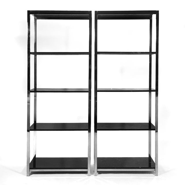 This handsome pair of etageres are very similar to Baughman's work for Directional and DIA. They feature chromed steel...