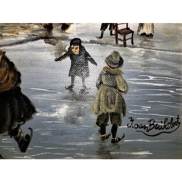 Dutch Ice Skating Oil Painting on Canvas by Van Buiksloot For Sale - Image 11 of 13