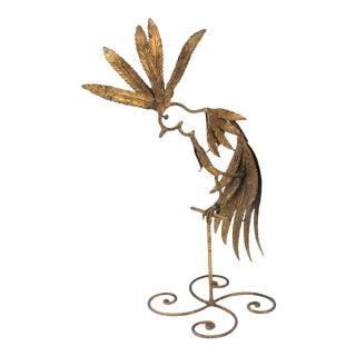 Mid-Century Modern Plumed Bird Figure in Florentine Gold Leaf For Sale