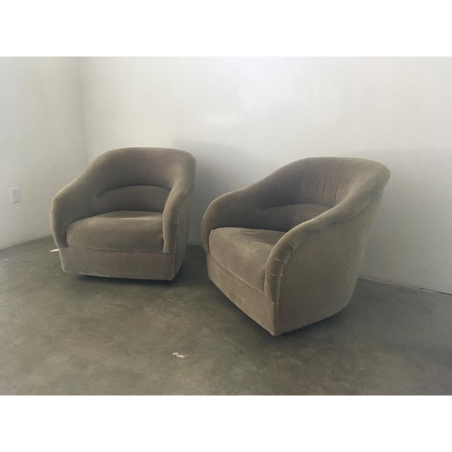 Pair of super comfortable Ward Bennett club chairs in original Maharam Mohair upholstery.