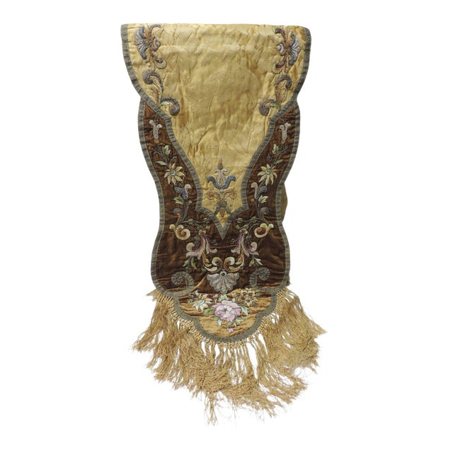 19th Century Silk Embroidery Byzantine Damask and Velvet Table Runner For Sale
