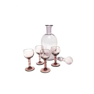 Vintage Mid Century Hand Blown Purple Glass Decanter Drinking Set Preview