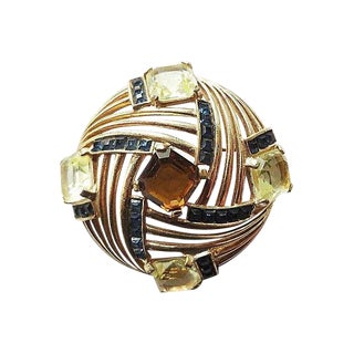 1950s Boucher Faux-Topaz & Citrine Brooch Pin For Sale
