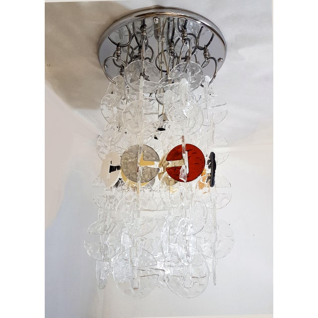 Mid Century Modern Mazzega Chrome & Murano Glass Chandelier For Sale - Image 12 of 12