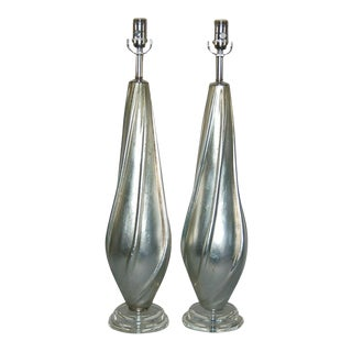 Swank Lighting Silver Leafed Lamps For Sale