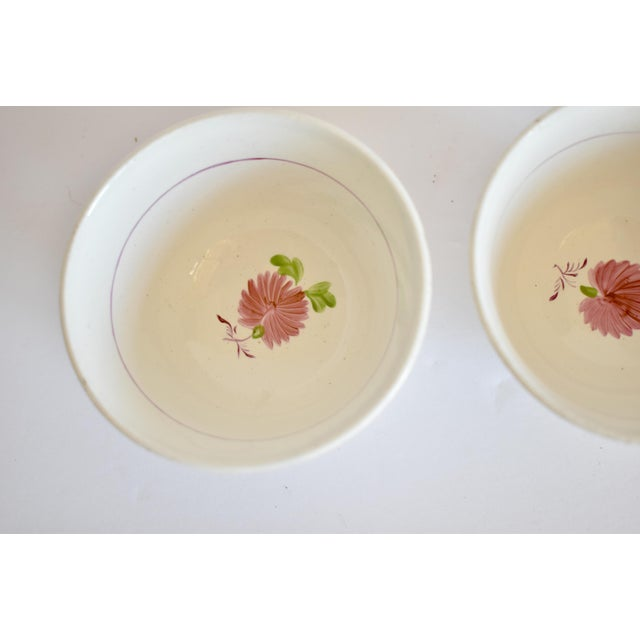 Ceramic Antique C. 1810-1820 Pink Luster Staffordshire Creamware Tea Bowls - a Pair For Sale - Image 7 of 13