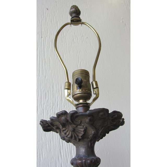 Antique Cast Metal Lamps With Fortuny Shades - A Pair - Image 6 of 11