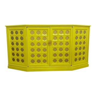 Lacquered Chartreuse Credenza