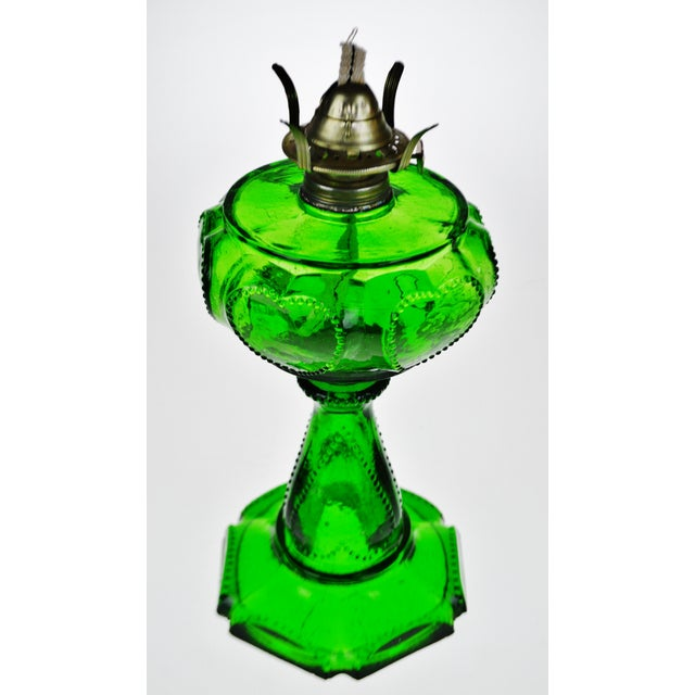 Traditional Vintage Emerald Green Glass Oil Lamp W/ Heart Design For Sale - Image 3 of 12