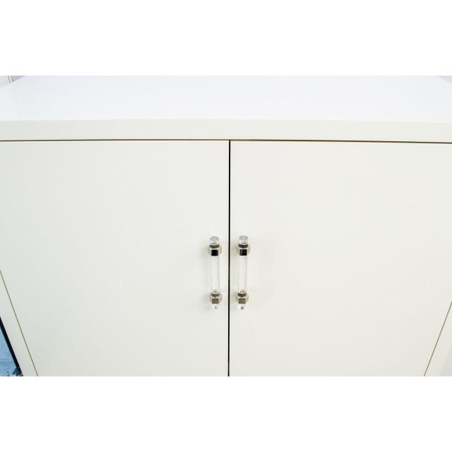 Transitional Ivory Lacquered Cabinet with Lucite Handles For Sale - Image 3 of 4