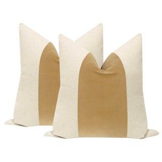 """22"""" Camel Velvet Panel & Linen Pillows - a Pair For Sale"""