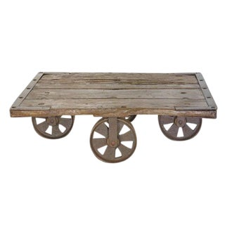 Antique English Rolling Flat Cart For Sale