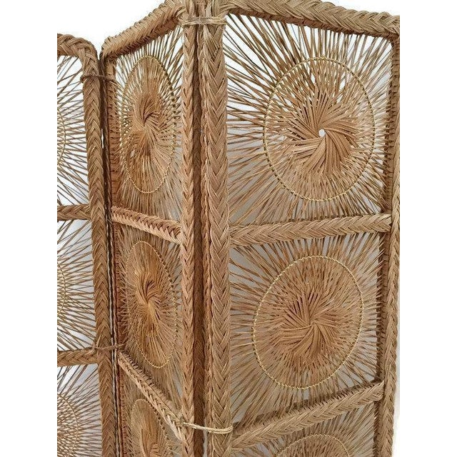 Tan Mid Century Modern Rattan Folding Screen 3 Panel Room Divider Boho Headboard For Sale - Image 8 of 11