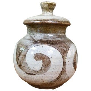 Studio Pottery Vessel With Lid by Herman Volz For Sale