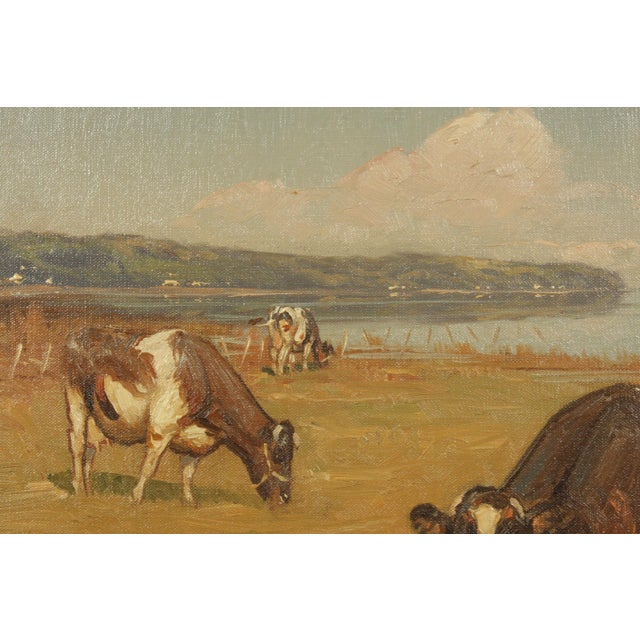 Late 20th-Century Realist Oil Painting of Cows Grazing in a Field by S?ren Edsberg Andersen For Sale - Image 4 of 6